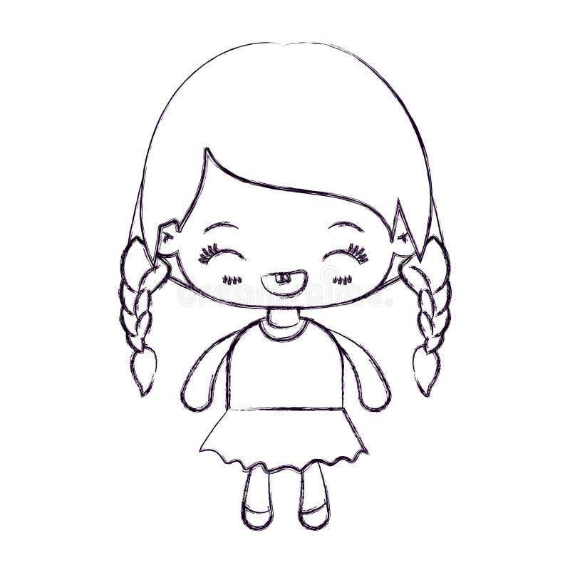kawaii女孩被弄脏的稀薄的剪影有结辨的头发和表情笑的 向量例证