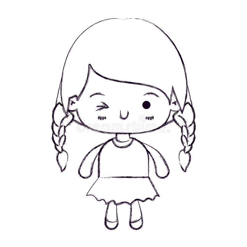 kawaii女孩被弄脏的稀薄的剪影有结辨的头发和表情闪光眼睛的 库存例证