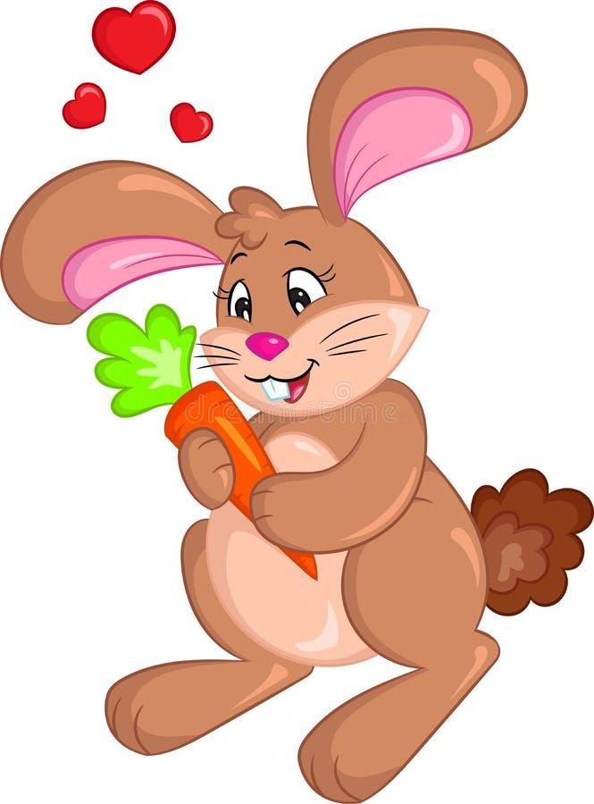 Kawaii拿着一棵红萝卜,儿童图书的小兔,复活节拟订情人节卡片 库存例证