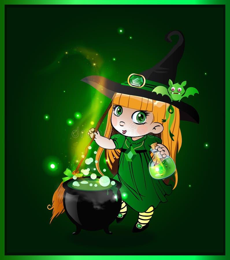 Kawaii有帚柄和大锅的女婴巫婆在闪耀的绿色背景 向量例证