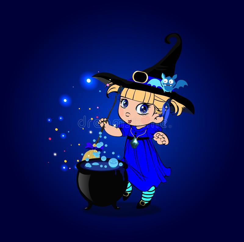 Kawaii有帚柄和大锅的女婴巫婆在闪耀的蓝色背景 库存例证