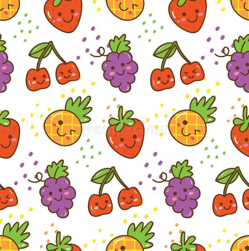 Kawaii果子无缝的样式用草莓、樱桃,葡萄等 皇族释放例证