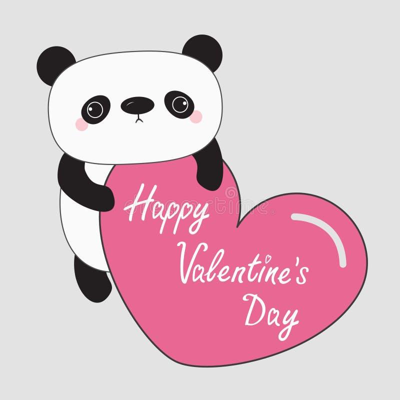 Kawaii熊猫婴孩熊 愉快的情人节文本 拿着大桃红色心脏的逗人喜爱的漫画人物 孩子的野生动物汇集 向量例证