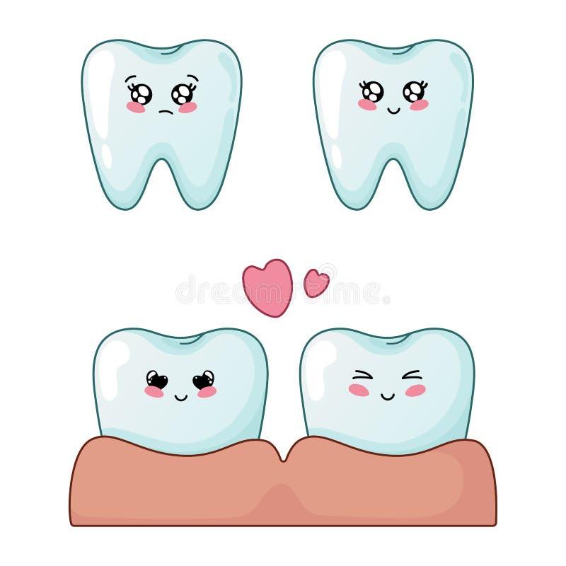 Kawaii牙齿保护 库存例证