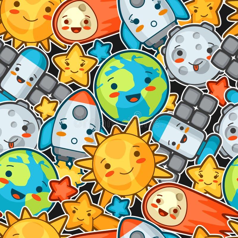 Kawaii空间无缝的样式 与相当表情的乱画 动画片太阳,地球,月亮,火箭的例证 皇族释放例证