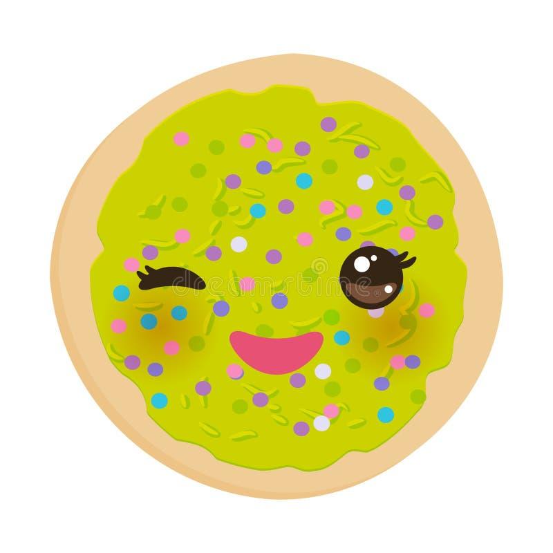 Kawaii结霜了糖屑曲奇饼,与绿色结霜的意大利人新近地被烘烤的饼干,并且五颜六色洒 在白色bac的明亮的颜色 库存例证