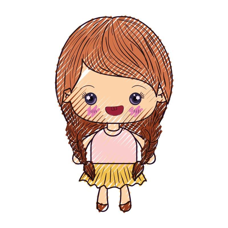 kawaii逗人喜爱的女孩色的蜡笔剪影有结辨的头发和微笑的 向量例证