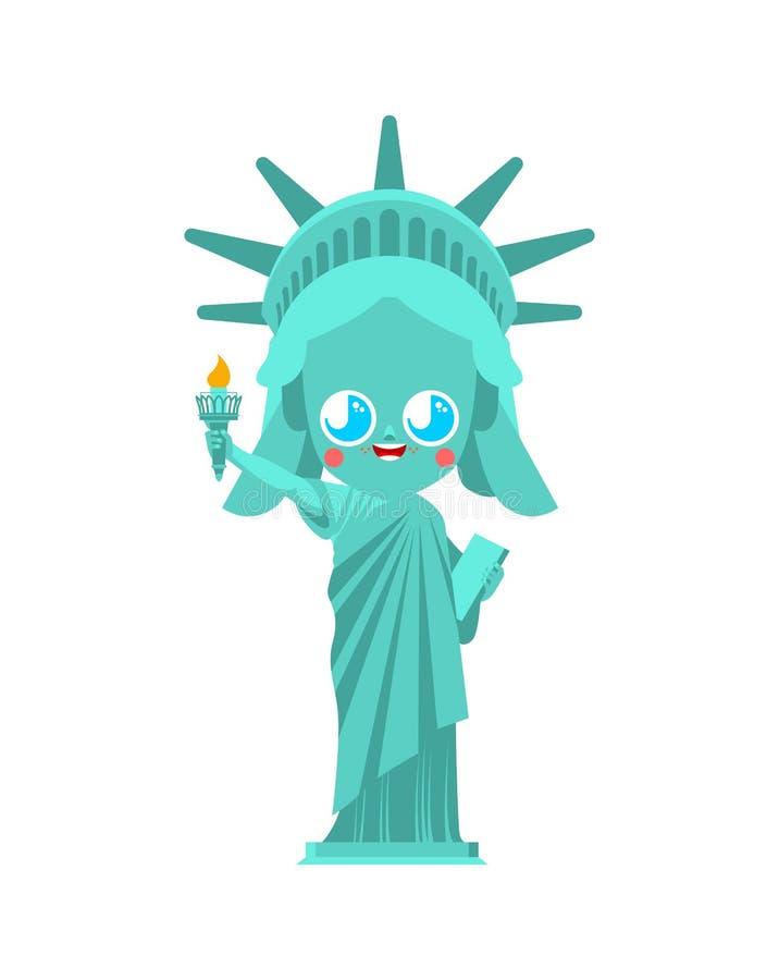 Kawaii逗人喜爱的自由女神像 滑稽的地标美国 孩子字符美国是标志 儿童的样式 皇族释放例证