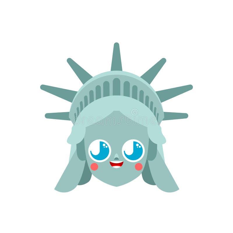 Kawaii逗人喜爱的自由女神像 滑稽的地标美国 孩子字符美国是标志 儿童的样式 向量例证