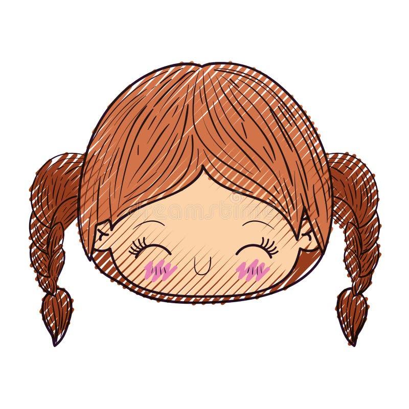 kawaii顶头女孩色的蜡笔剪影有结辨的头发和表情笑的 库存例证