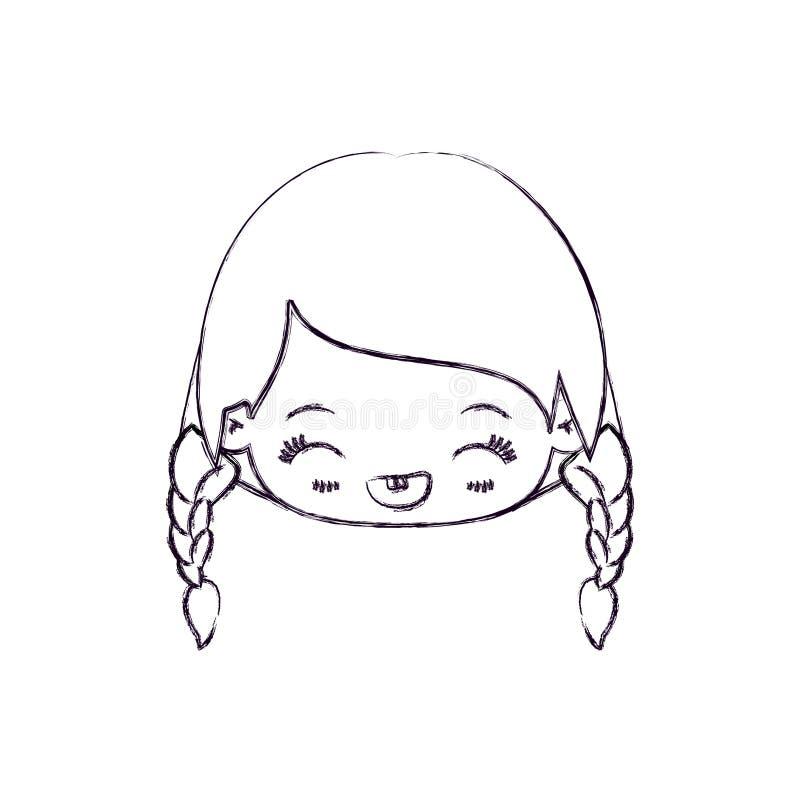 kawaii顶头女孩被弄脏的稀薄的剪影有结辨的头发和表情笑的 皇族释放例证