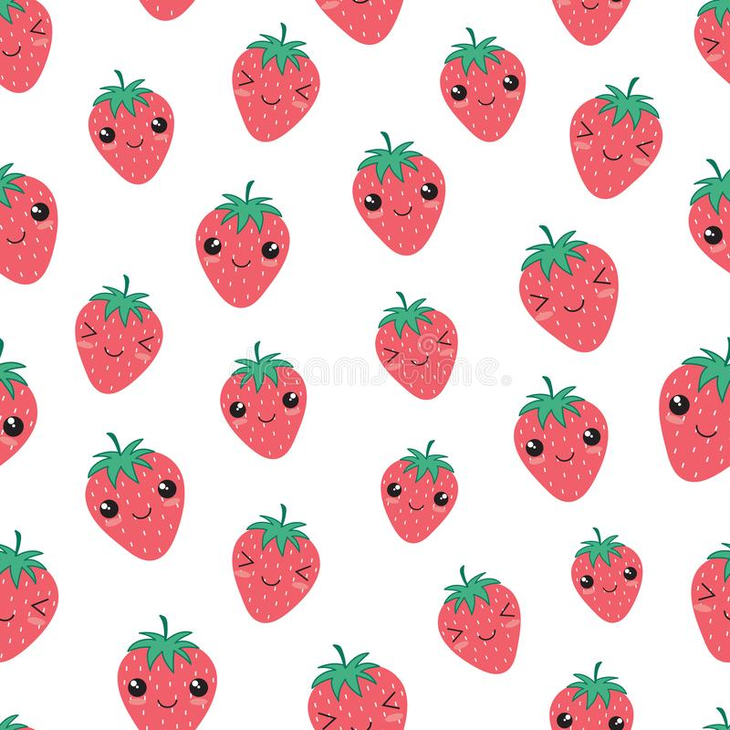 Kawaii ευτυχές διάνυσμα σχεδίων φραουλών άνευ ραφής ελεύθερη απεικόνιση δικαιώματος
