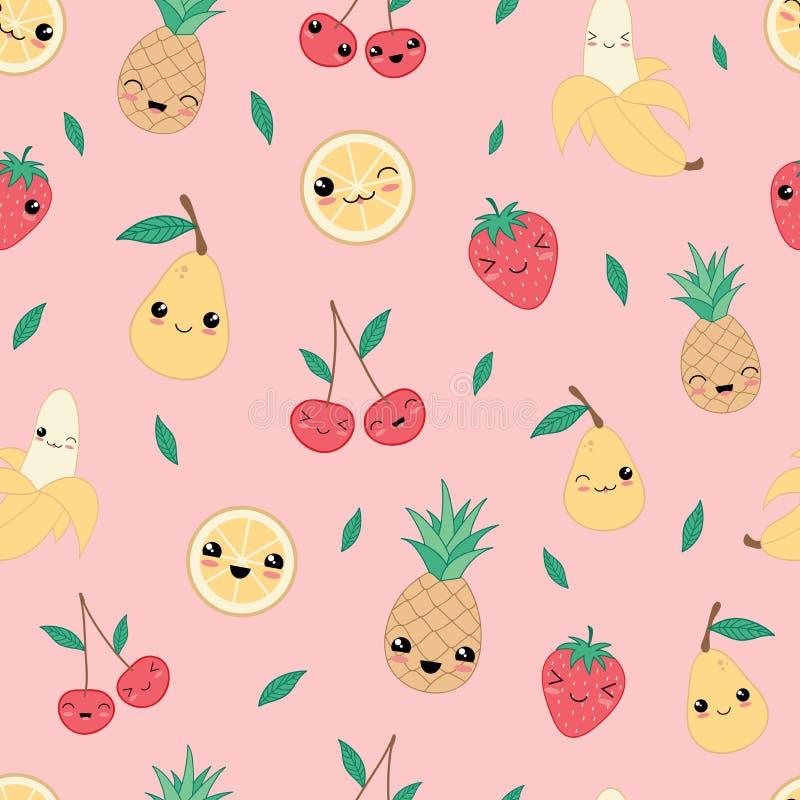 Kawaii ευτυχές διάνυσμα σχεδίων φρούτων άνευ ραφής ελεύθερη απεικόνιση δικαιώματος