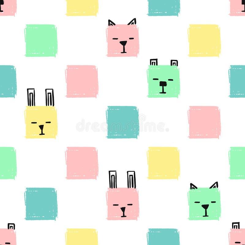 Kawaii придает квадратную форму картине животных безшовной Предпосылка притяжки руки вектора со сторонами котов, собак и кроликов иллюстрация вектора
