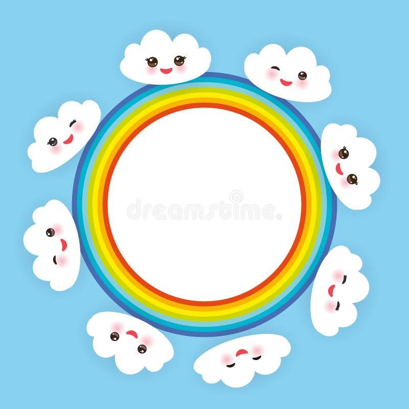 Kawaii滑稽的白色云彩设置了,有桃红色面颊的枪口和闪光眼睛 在浅兰的背景的彩虹圆的框架 向量 向量例证