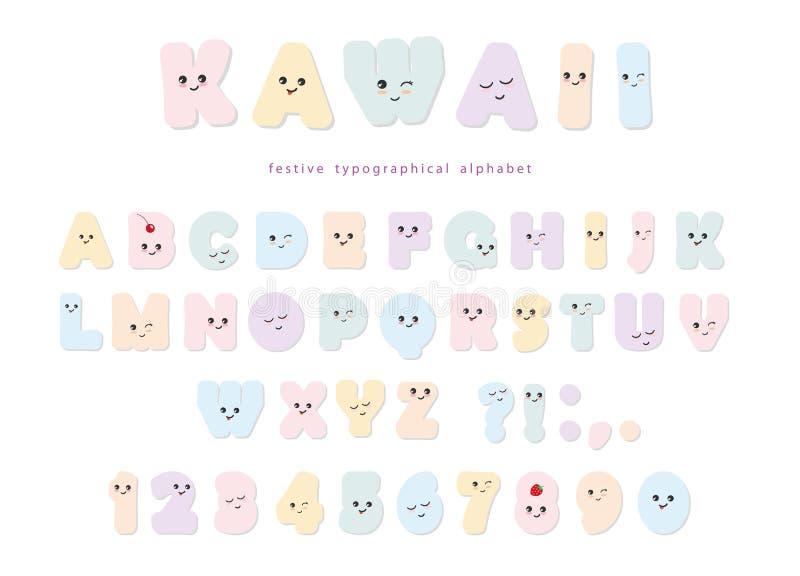 Kawaii abecadło w pastelowych kolorach z śmieszny ono uśmiecha się stawia czoło Dla urodzinowych kartka z pozdrowieniami, partyjn ilustracji