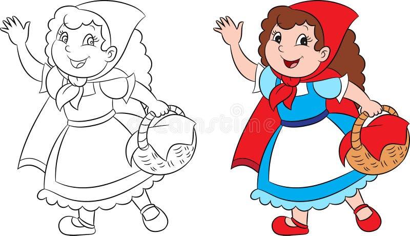 Kawaii adorable antes y después del ejemplo del Caperucita Rojo, en el contorno y el color perfectos para el libro de colorear de stock de ilustración
