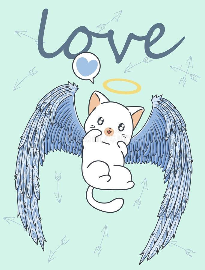 Kawaii-Amor-Katzencharakter mit Pfeilhintergrund lizenzfreie abbildung