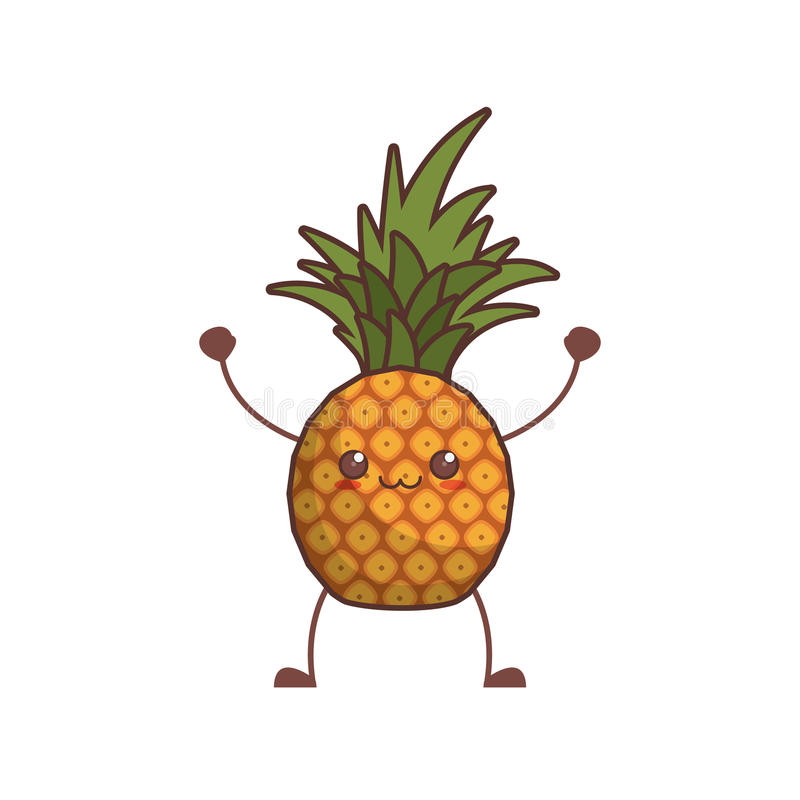 kawaii ananasowy owocowy wizerunek royalty ilustracja