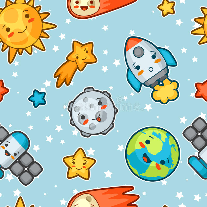 Kawaii astronautyczny bezszwowy wzór Doodles z ładnym wyrazem twarzy Ilustracja kreskówki słońce, ziemia, księżyc, rakieta royalty ilustracja