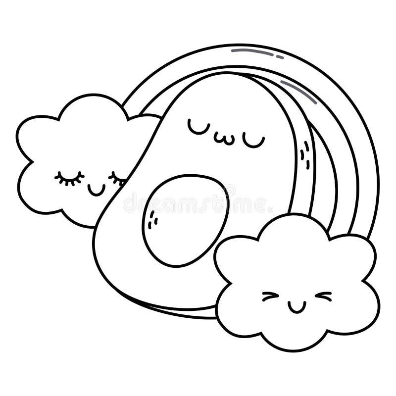 kawaii avocado cartoon design expression cute character funny emoticon theme vector illustration