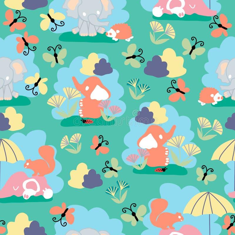 Kawaii-Babyelefanten, in einem nahtlosen Musterentwurf lizenzfreie abbildung