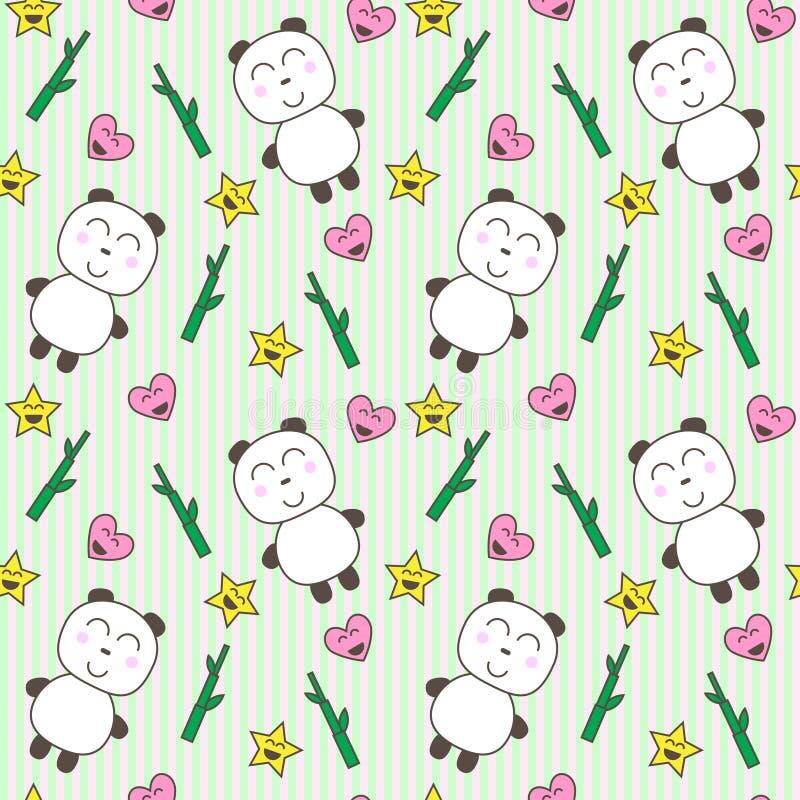 Kawaii background with cute pandas royalty free illustration