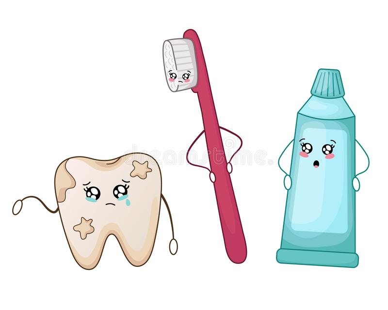 Kawaii dental care. Kawaii bad, sick, dirty tooth and toothpaste and brush - best friends of teeth, cute cartoon characters on white, isolated objects. Dentistry royalty free illustration