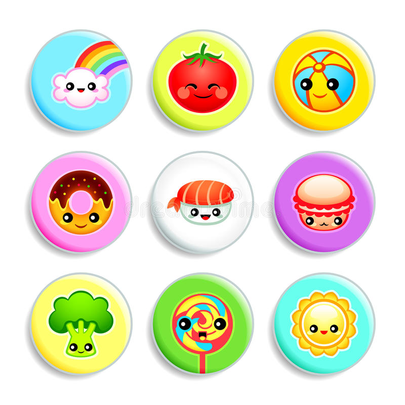 Kawaii badges - Set III stock illustration