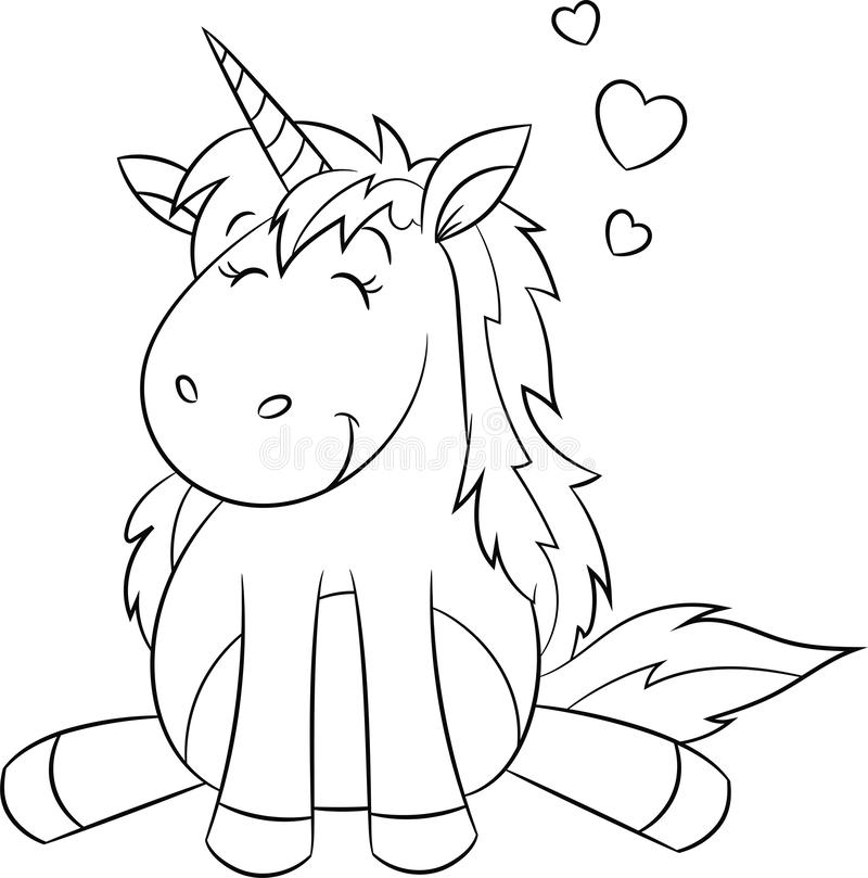 Free Kawaii Black And White Illustration Of A Unicorn, With Hearts, Contour, For Children`s Coloring Book, Or Valentine`s Day Card Stock Images - 137023954