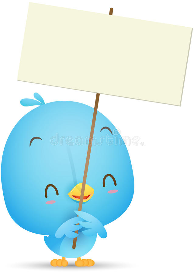 Kawaii Blue Bird holding blank sign vector illustration