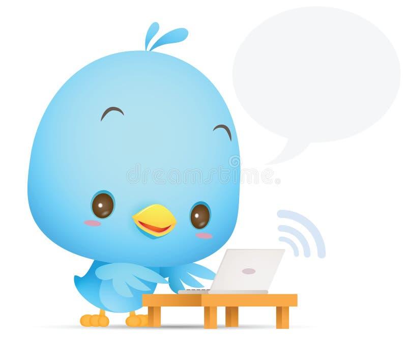 Kawaii Blue Bird using laptop stock illustration
