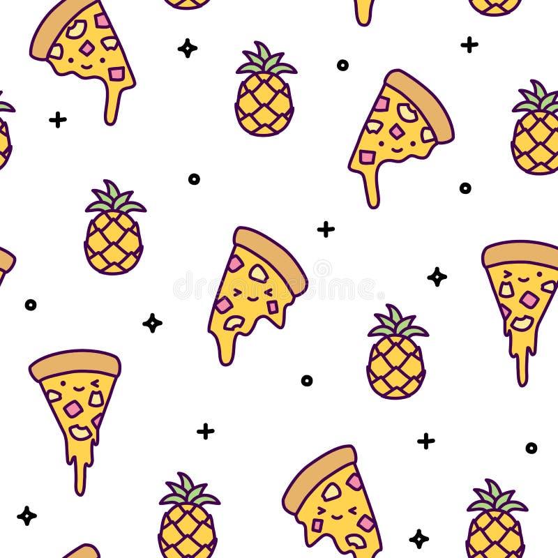 Kawaii bonito do teste padrão sem emenda da pizza do abacaxi de Havaí ilustração royalty free