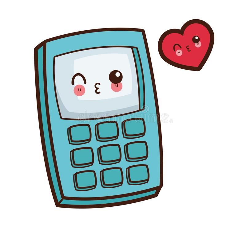 Kawaii calculator wink image stock illustration