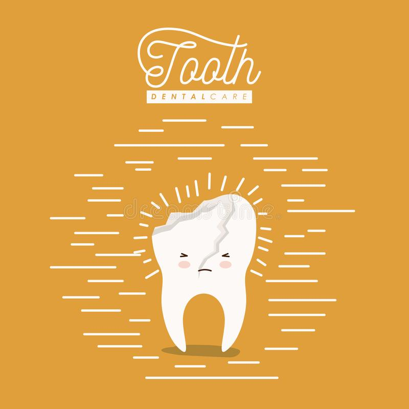 Kawaii caricature broken tooth dental care with pain expression on color poster with lines. Vector illustration stock illustration