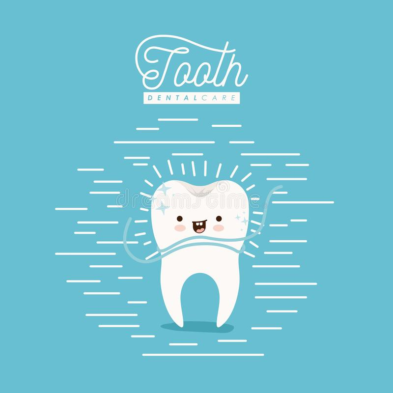 Kawaii caricature clean tooth dental care with floss smiling expression on color poster with lines vector illustration