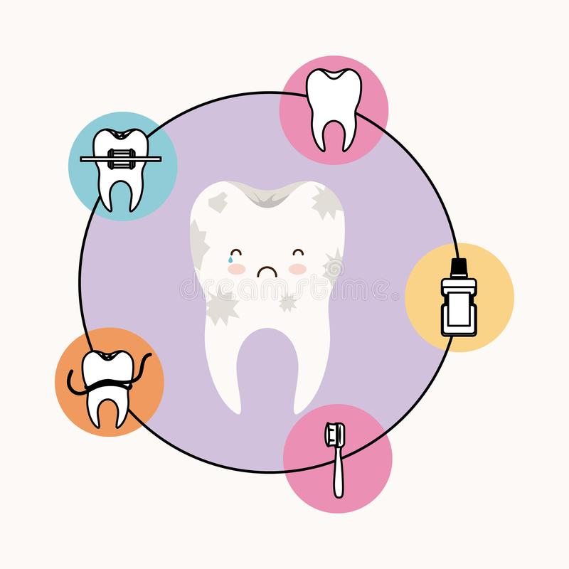 Kawaii caricature dirty tooth dental care with sad and crying expression with circular frame icons dental care on white. Background vector illustration stock illustration