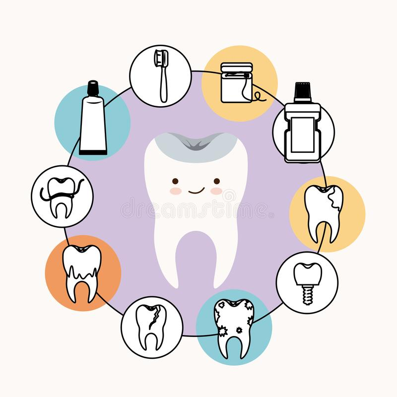 Kawaii caricature healthy tooth dental care with happiness expression with circular frame icons dental care on white. Background vector illustration stock illustration