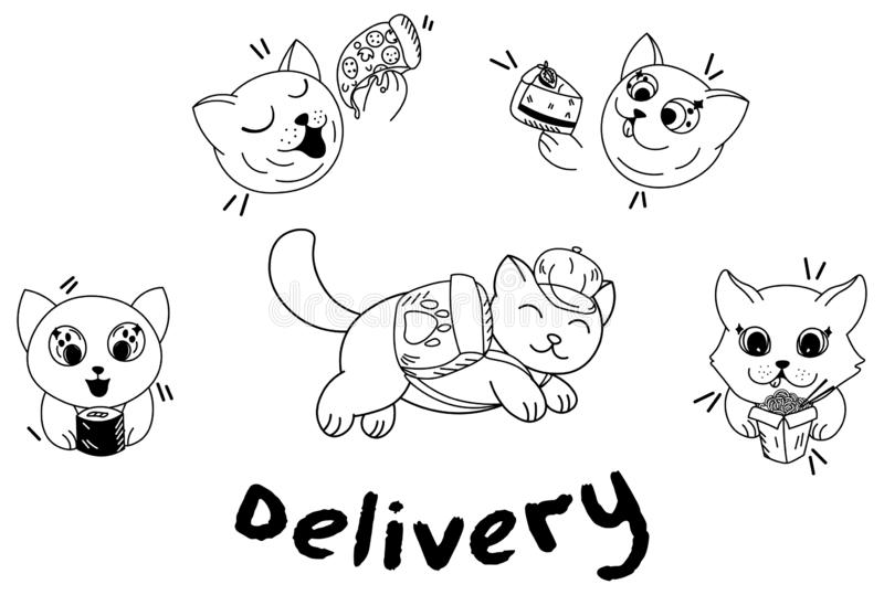 Kawaii cartoon cat with backpack delivery fast food, sushi, pizza, cake, wok, food delivery, cute pets eat. Editable vector illustration vector illustration