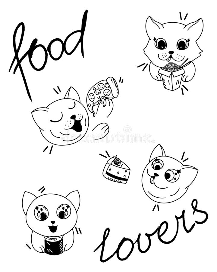 Kawaii cartoon cats eat delivery fast food, sushi, pizza, cake, wok, food delivery, cute pets food lovers. Editable vector illustration stock illustration