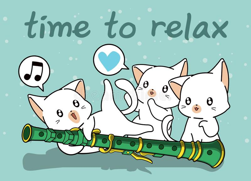 Kawaii cats with a flute. In cartoon style royalty free illustration