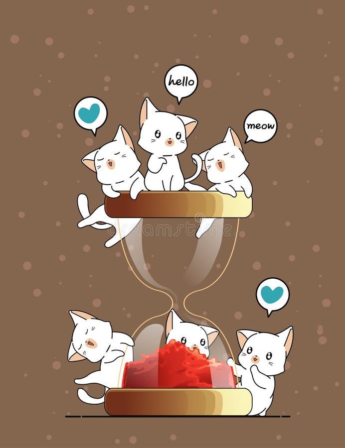 Kawaii cats and hourglass stock illustration