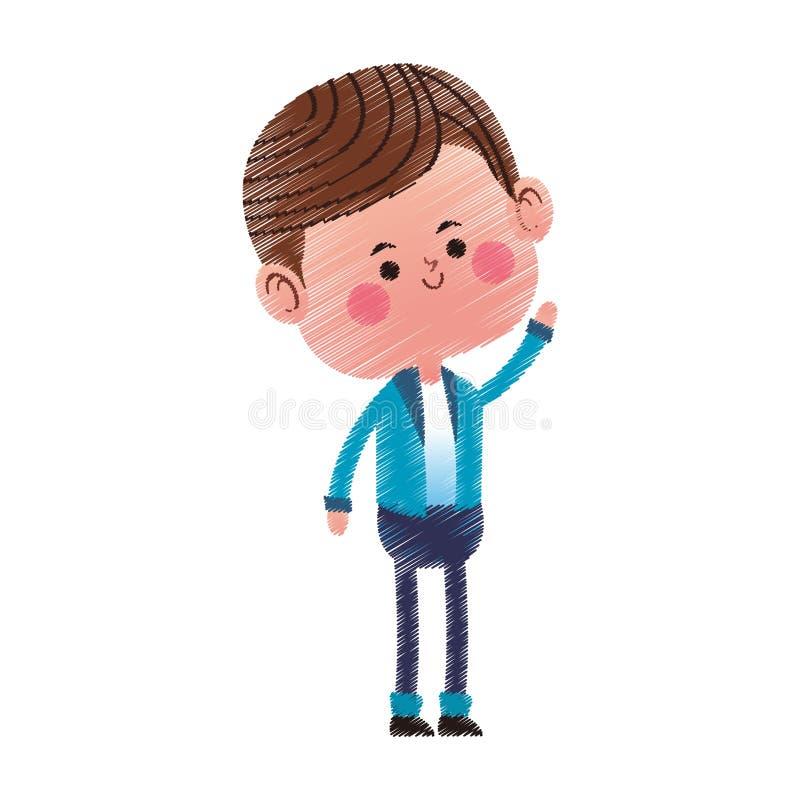 Kawaii chłopiec ikona ilustracji