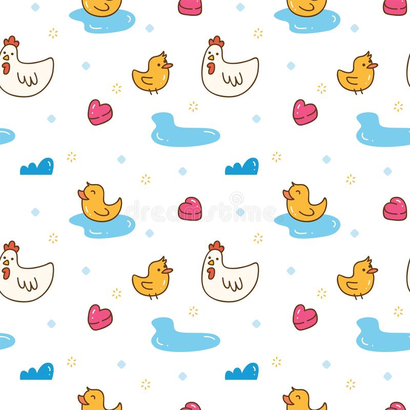 Kawaii chicken and duck seamless pattern. Can be use as background, fabric motif, and other creative purposes vector illustration