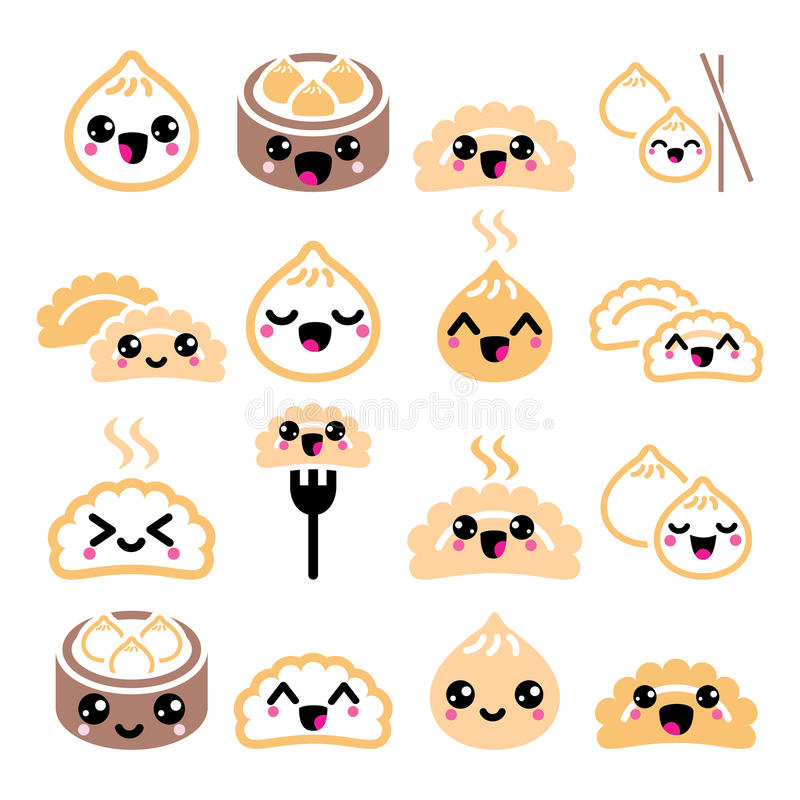 Kawaii Chinese bollen, de leuke Aziatische vector geplaatste pictogrammen van voedseldim sum vector illustratie