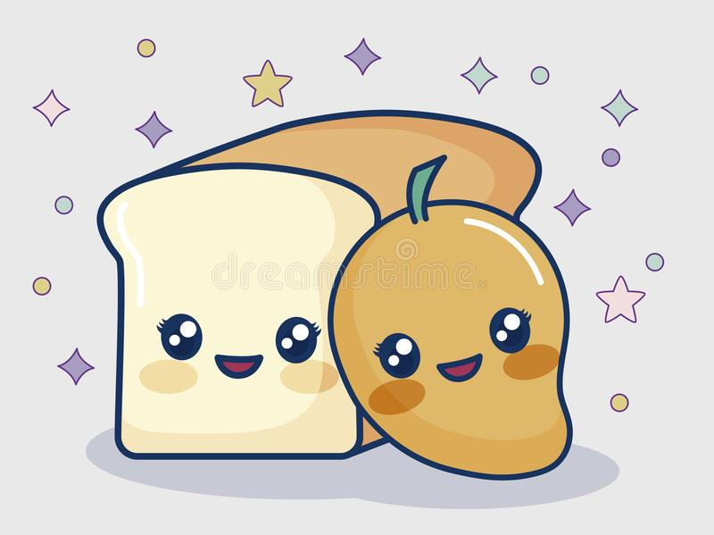 Kawaii chleb i mango ilustracja wektor