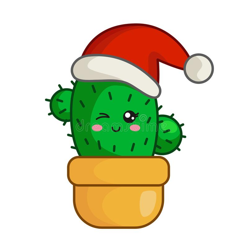 Vector kawaii Christmas collection. Kawaii Christmas little cactus in santas hat in flower pot, cute emoji face character, new year exotic tropical decoration royalty free illustration