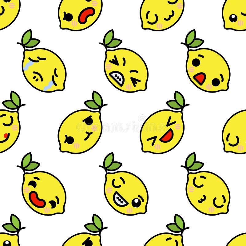 Kawaii citron med för modellkawaii för gulliga blåtiror sömlös frukt med den sömlösa modellen för emotionella framsidor vektor illustrationer