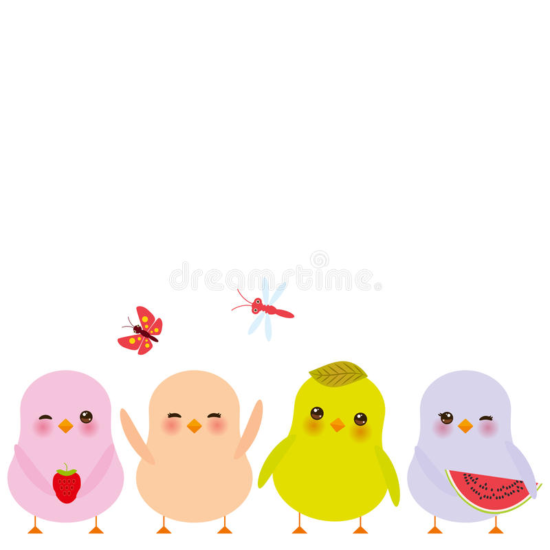 Kawaii colorful green orange pink chick with pink cheeks and winking eyes, pastel colors on white background. Vector vector illustration
