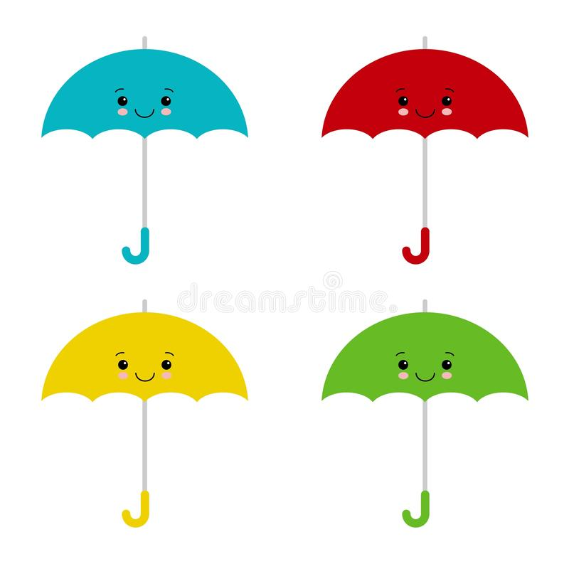 Kawaii coloriu guarda-chuvas Ilustra??o do vetor, estilo liso dos desenhos animados Parasol bonito ilustração royalty free